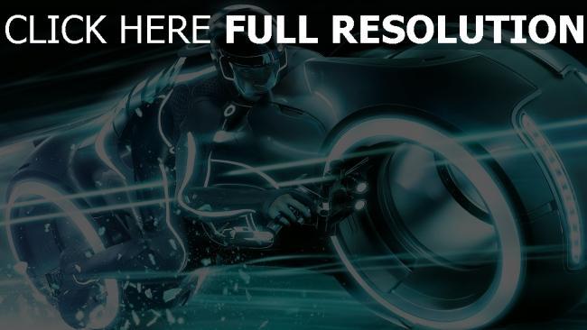 fond d'écran hd tron l'héritage moto néon turquoise