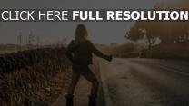 blond l'auto-stop veste cuir shorts