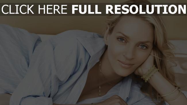 fond d'écran hd uma thurman tendre blond maquillage