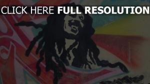 bob marley graffiti heureux