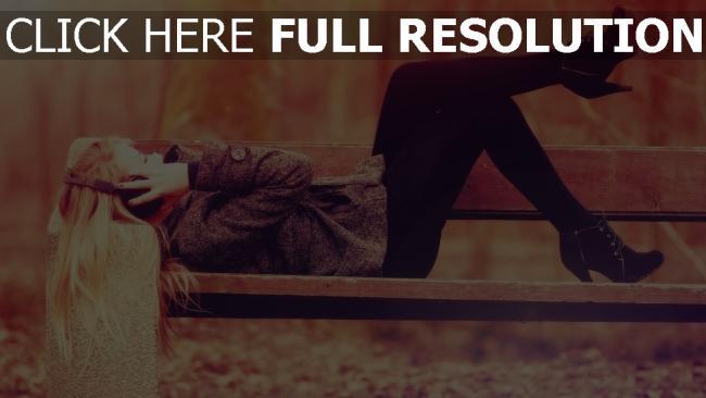 fond d'écran hd blonde automne élégant banc