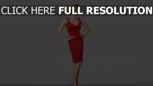 blond robe de soirée rouge