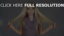 blond cheveux longs chérie pull