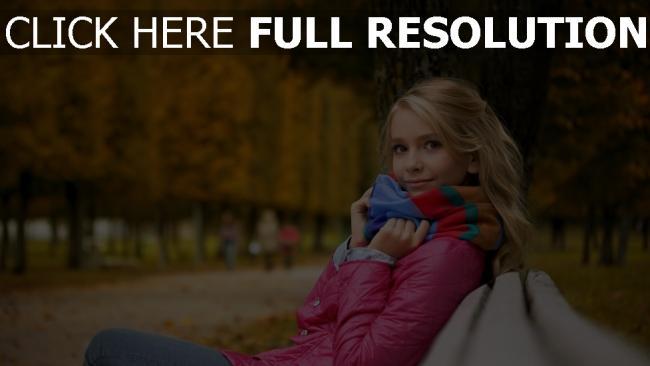 fond d'écran hd blond veste chérie banc parc romantique