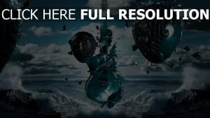 guitare nuage aérostat mer
