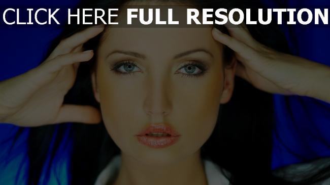 fond d'écran hd brunette réflexion yeux bleus