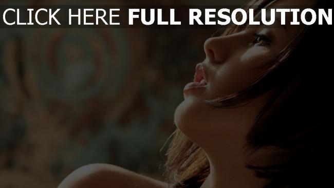 fond d'écran hd cheveux bruns sensuel vue de côté