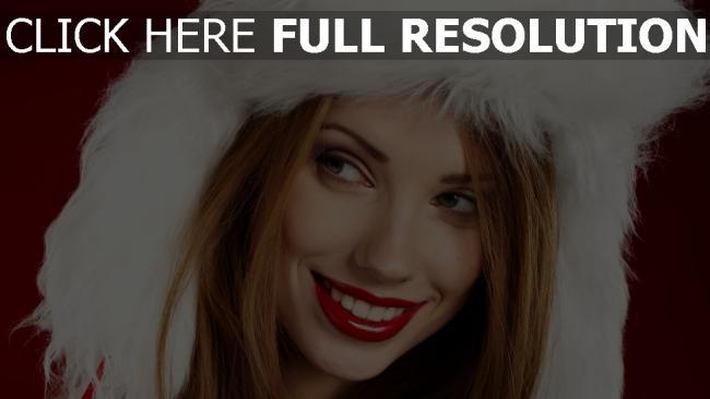 fond d'écran hd cheveux bruns capuchon rouge à lèvres sourire