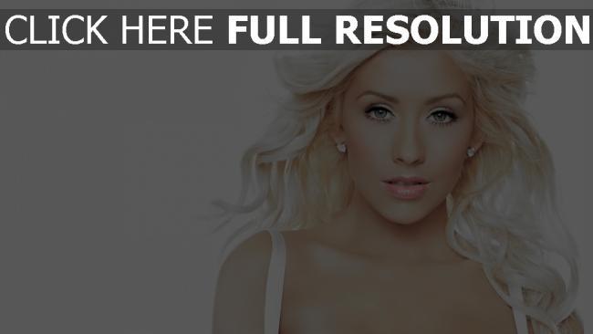fond d'écran hd christina aguilera chanteuse blond yeux bleus