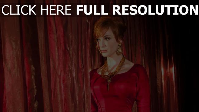 fond d'écran hd christina hendricks roux collier robe de soirée