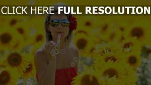 bulle de savon tournesol lunettes de soleil champ