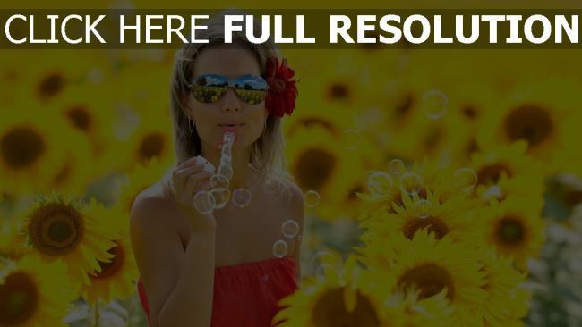 fond d'écran hd bulle de savon tournesol lunettes de soleil champ