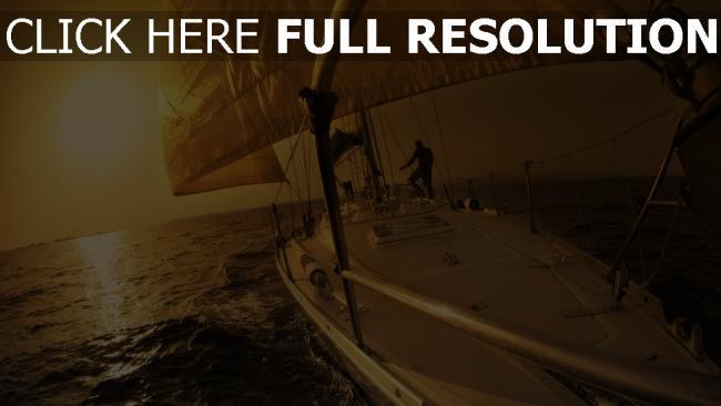 fond d'écran hd mer voilier coucher du soleil