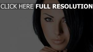 brunette visage belle mascara yeux verts