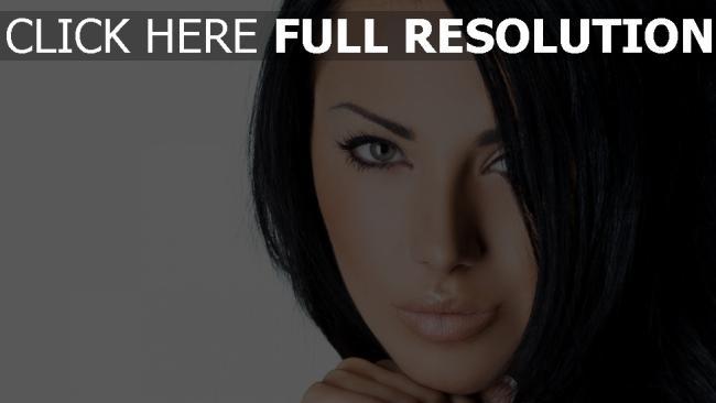 fond d'écran hd brunette visage belle mascara yeux verts
