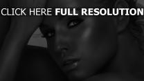 noir et blanc visage mascara tendre