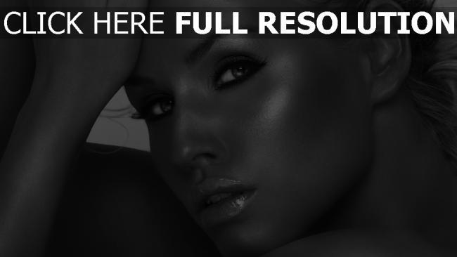 fond d'écran hd noir et blanc visage mascara tendre