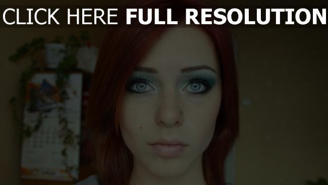 fond d'écran hd yeux bleus gros plan roux visage