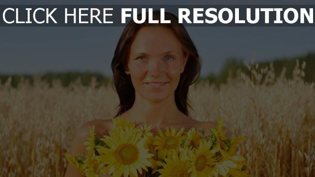 fond d'écran hd yeux verts champ bonheur cheveux bruns