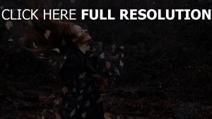 roux foncé automne feuille vue de côté