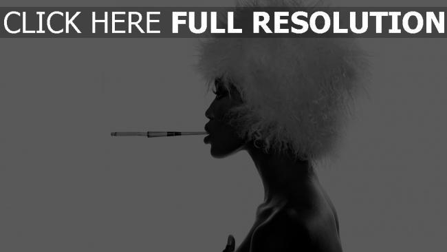 fond d'écran hd chapeau cigarette vue de côté élégant noir et blanc