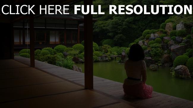 fond d'écran hd jardin de pierres lac temple brunette