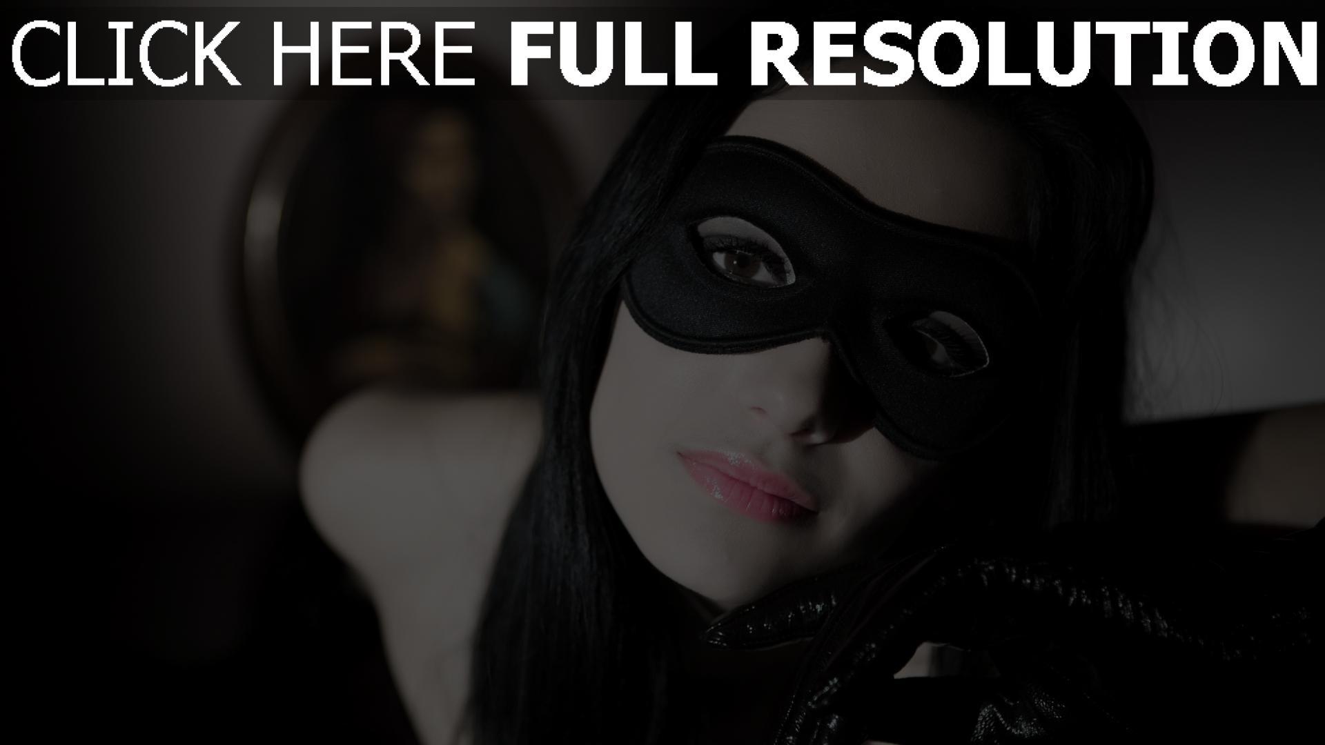 fond d'écran 1920x1080 masque brunette yeux bruns visage gros plan