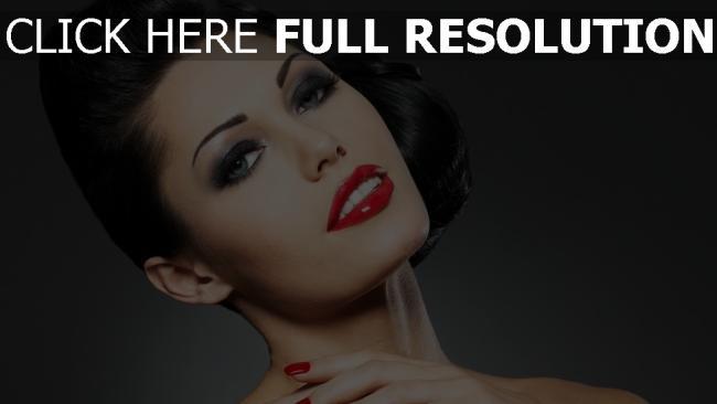 fond d'écran hd brunette rouge à lèvres maquillage yeux bleus