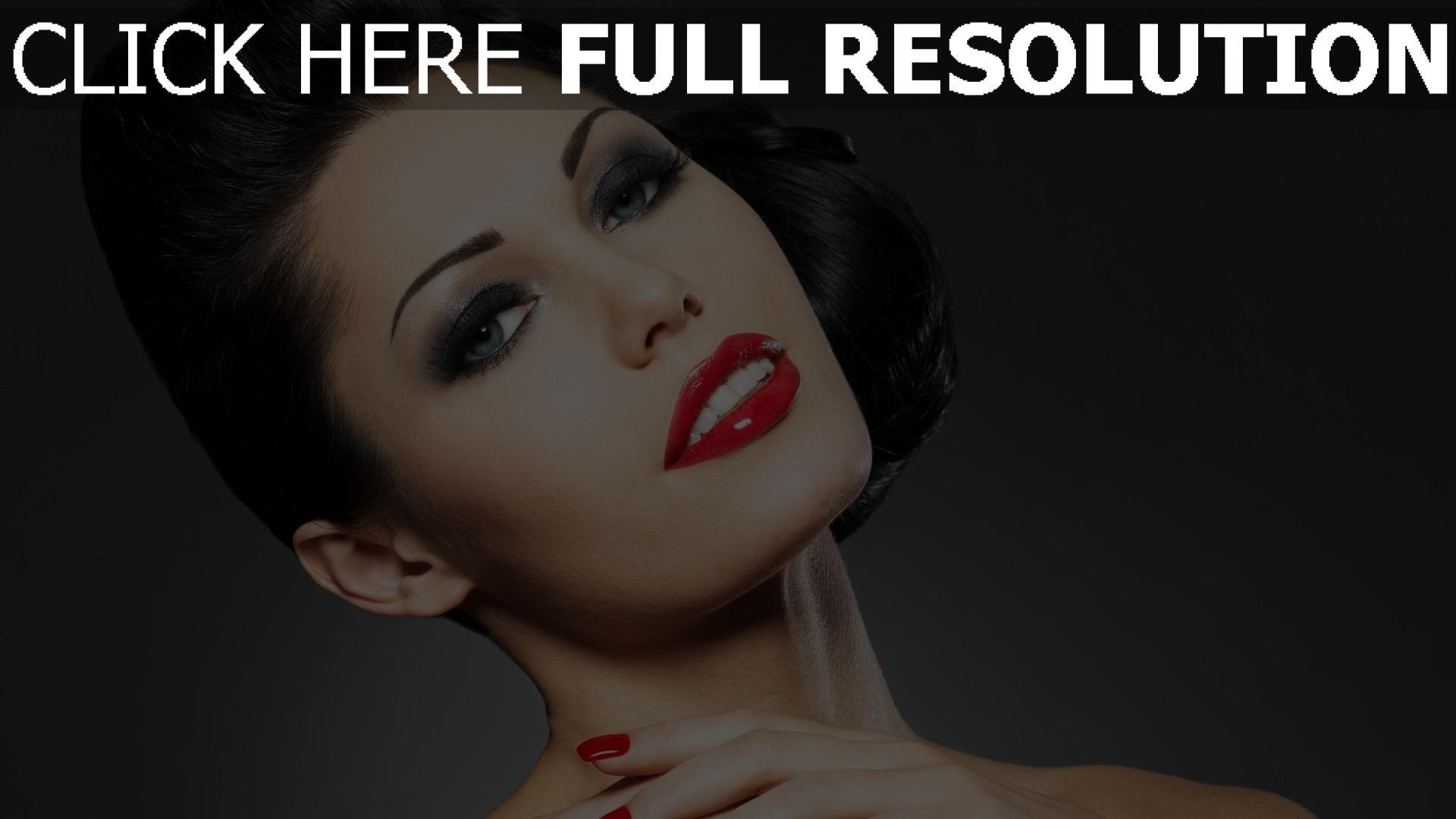 fond d'écran 1920x1080 brunette rouge à lèvres maquillage yeux bleus