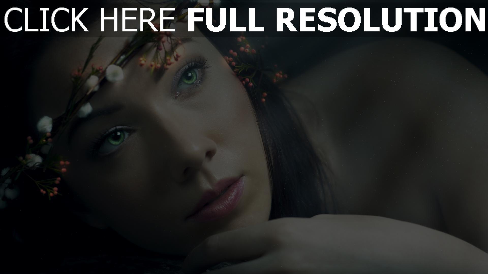 fond d'écran 1920x1080 yeux verts couronne tendre visage