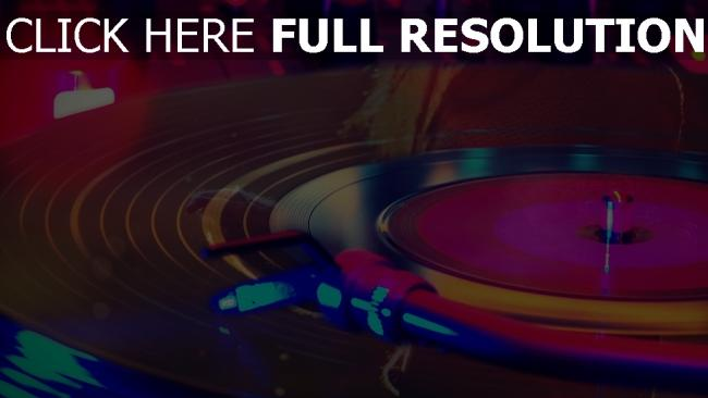 fond d'écran hd disque vinyle gros plan néon