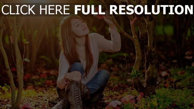 fond d'écran hd forêt bonheur yeux fermés