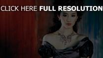liu yifei actrice bouclé cheveux robe bijoux