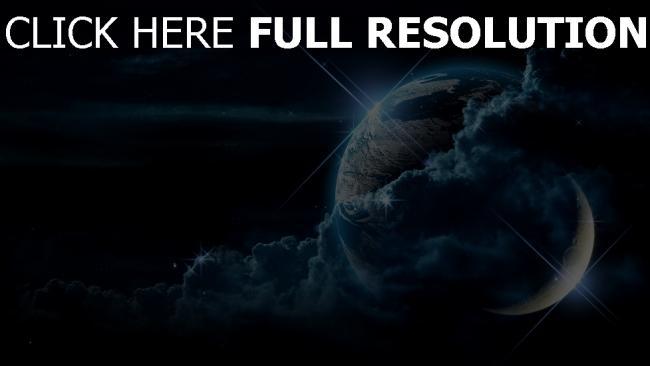 fond d'écran hd nuage planète nuit satellite
