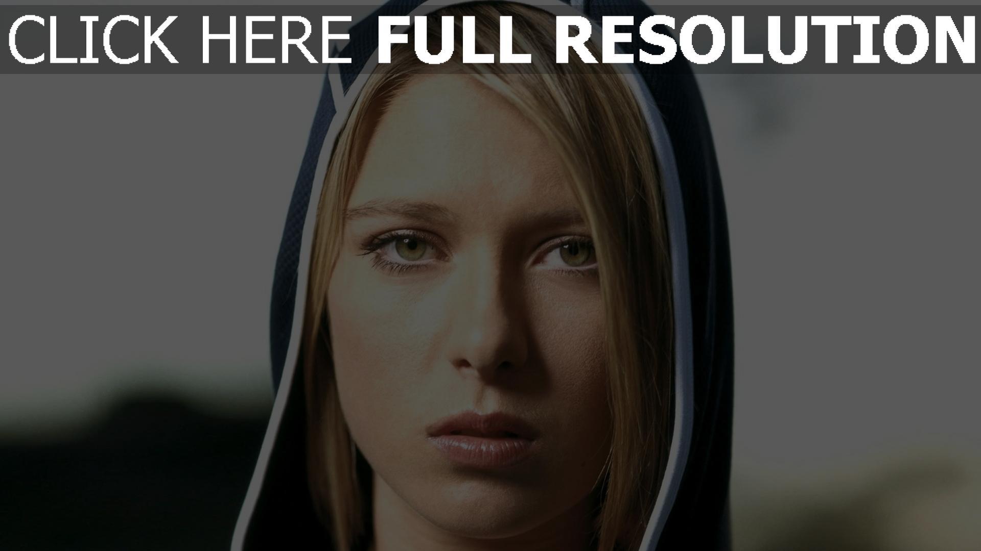 fond d'écran 1920x1080 maria sharapova capuchon yeux verts joueur