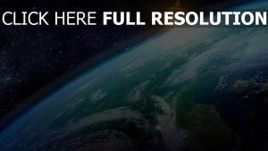 planète lever du soleil éclatant