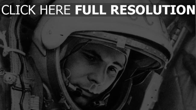 fond d'écran hd yuri gagarin astronaute noir et blanc