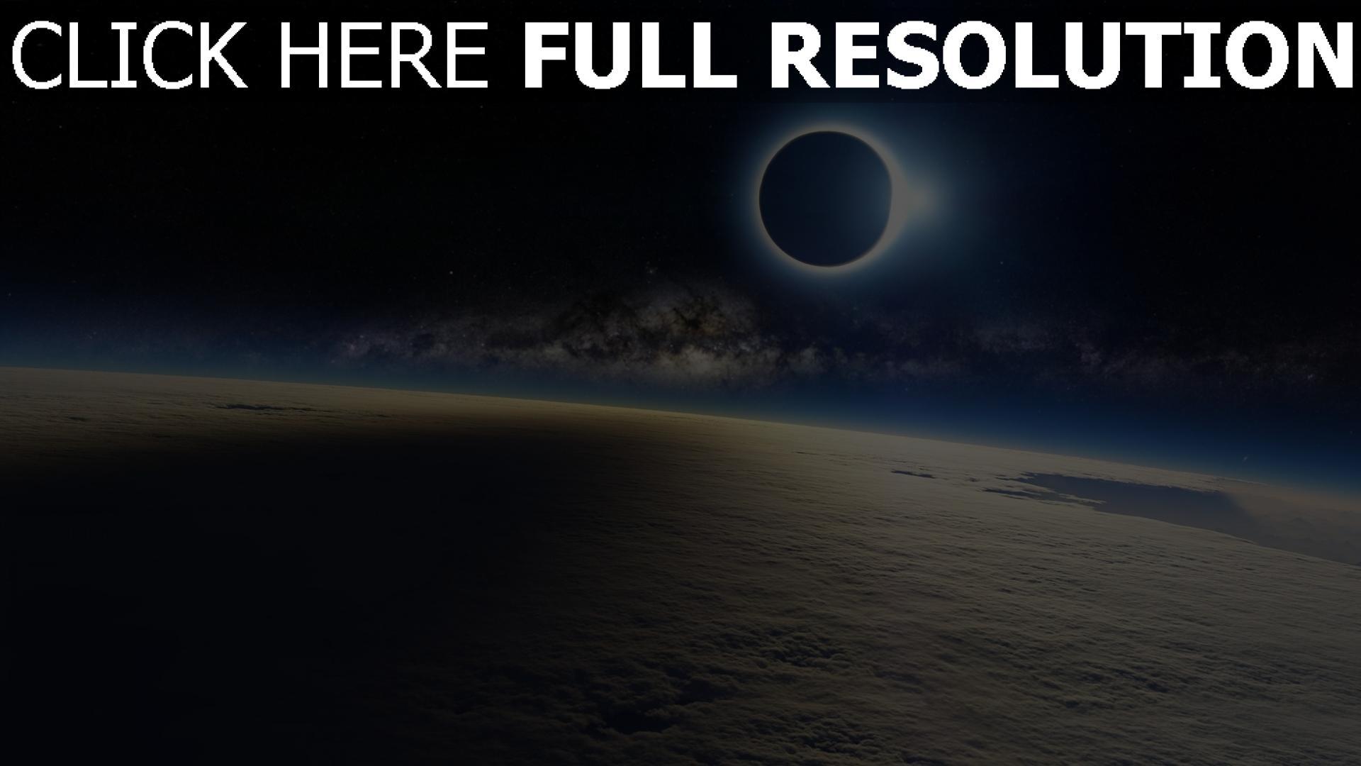 fond d'écran 1920x1080 éclipse satellite atmosphère