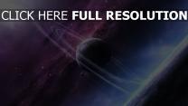 planète avec des anneaux pourpre éclatant