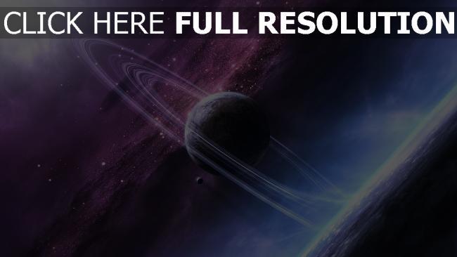 fond d'écran hd planète avec des anneaux pourpre éclatant