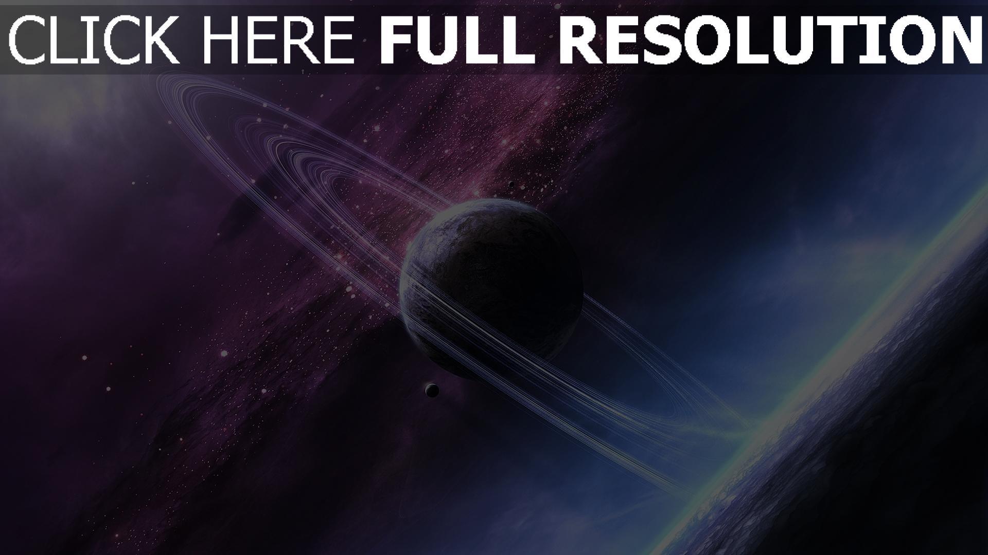 fond d'écran 1920x1080 planète avec des anneaux pourpre éclatant