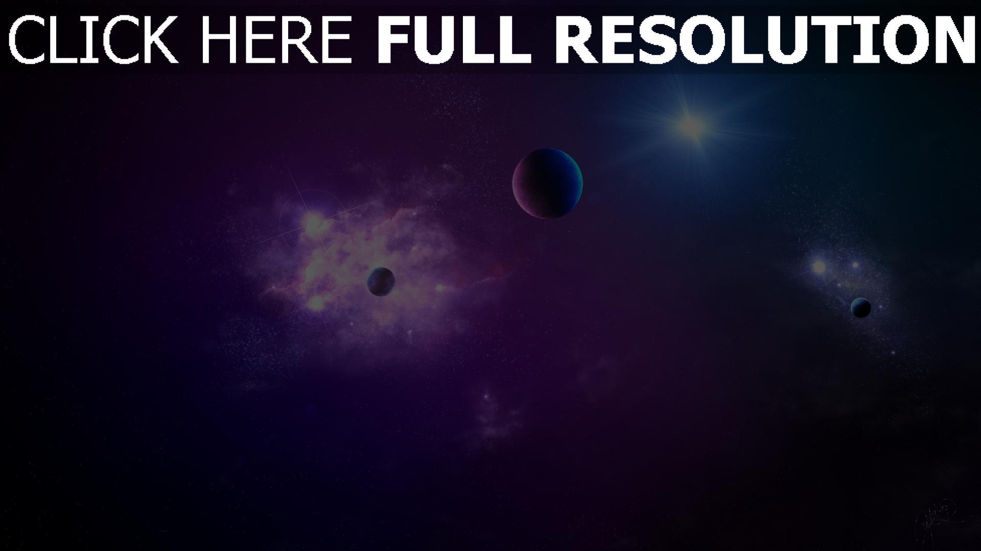fond d'écran 1920x1080 planète pourpre infini