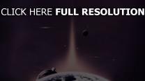 planète satellite pourpre lumière