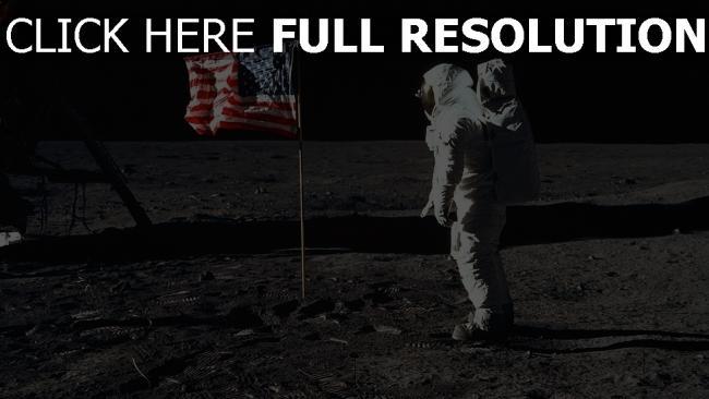 fond d'écran hd astronaute drapeau lune
