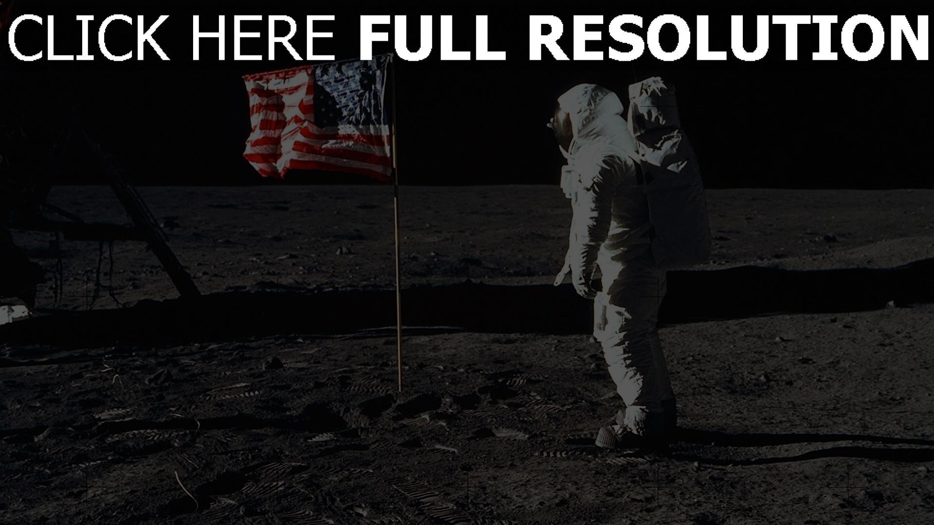 fond d'écran 1920x1080 astronaute drapeau lune