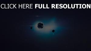 planete lumineux fonce bleu