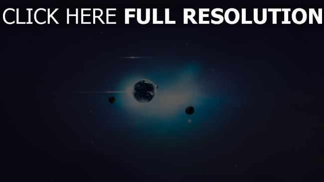 fond d'écran hd planete lumineux fonce bleu