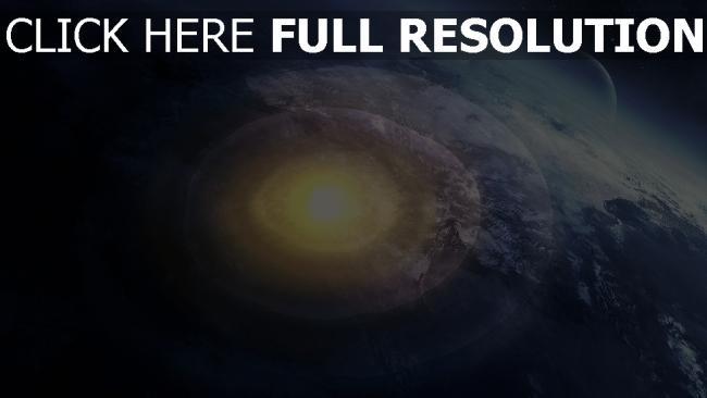 fond d'écran hd explosion nucléaire vue aérienne planèt