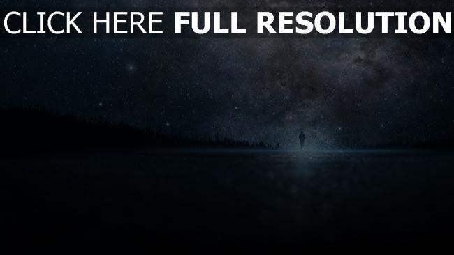 fond d'écran hd silhouette amas d'étoiles nuit