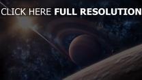 planète avec des anneaux étoile éclatant